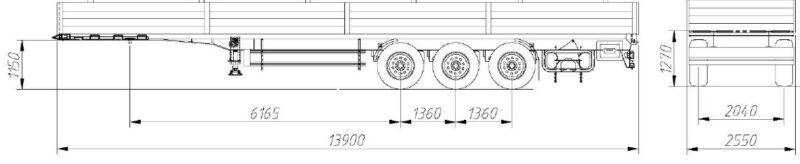 Бортовой открытый полуприцеп Manac 3-х осный - Транс-Мороз 1